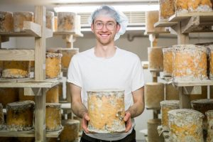 Newtownards entrepreneur, Mike Thompson, with his Young Buck Blue Cheeses, who will be giving a cheese demonstration during the upcoming Comber Food Tour on Thursday 5 May 2016